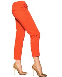 MSGM | Orange Techno Stretch Cotton Trousers | Lyst