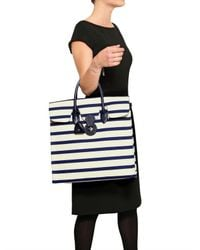 Ralph Lauren | White Rickie Striped Canvas and Leather Tote | Lyst