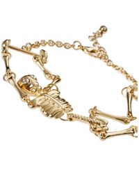 River Island - Metallic Articulated Skull Bracelet - Lyst
