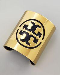 Tory Burch - Metallic Leather Stencil Logo Cuff Blue - Lyst