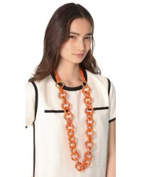 Tory Burch - Orange Pop Snake Necklace - Lyst