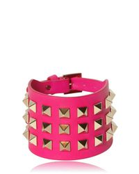 Valentino | Pink Large Rockstud Leather Bracelet | Lyst