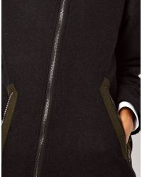 ASOS Collection | Black Coat with Contrast Details | Lyst