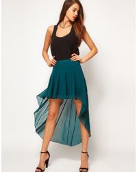 ASOS Collection | Blue Skirt with High Low Hem | Lyst