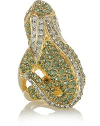 Kenneth Jay Lane | Green 22karat Goldplated Crystal Iguana Ring | Lyst