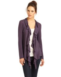 Eileen Fisher - Purple Ruffle Cardigan - Lyst