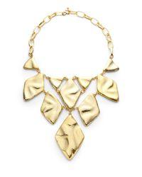 Kenneth Jay Lane | Metallic Diamond Bib Necklace | Lyst