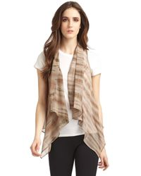 Maggie Ward - Leather and Silk Chiffon Vestbrown - Lyst