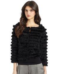 Alice + Olivia - Black Honor Rabbit Fur Jacket - Lyst