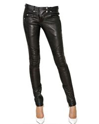 Balmain - Black Leather Stretch Biker Trousers - Lyst
