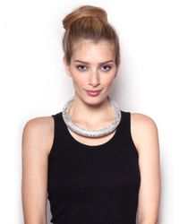 BaubleBar - Metallic Crystal Bolster Necklace - Lyst