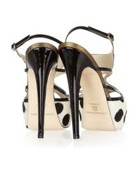 Brian Atwood - Black Aura Polka-dot Calf Hair Sandals - Lyst