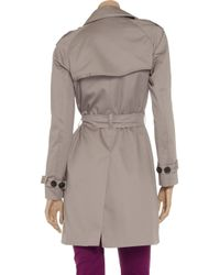 Farhi by Nicole Farhi Natural Double Breasted Cotton Blend Twill Trench Coat
