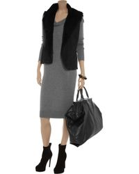 Farhi by Nicole Farhi Gray Bamboo and Cashmere Blend Sweater Dress
