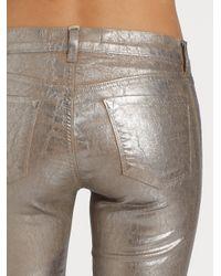 J Brand - Metallic Coated Crackle Skinny Jeans - Lyst