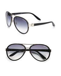 Jimmy Choo - Black Plastic Accented Metal Aviator Sunglasses - Lyst