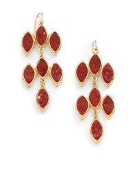 Kara Ross - Red Marquis Druzy Chandelier Earrings - Lyst