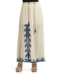 Love Sam - White Embroidered Cotton Blend Maxi Skirt - Lyst