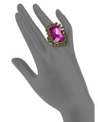 Sparkling Sage | Purple Crystal Rectangle Ring | Lyst