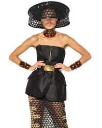 Alexander McQueen | Black Honeycomb Silk Organza Jacquard Dress | Lyst