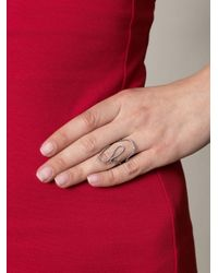 Diane Kordas - White Diamond and Gold Loop Ring - Lyst