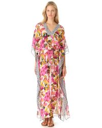 Tory Burch - Pink Catarina Caftan Cover Up Maxi Dress - Lyst