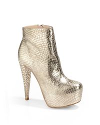 Alice + Olivia | Metallic Foiled Croc-embossed Ankle Boots | Lyst