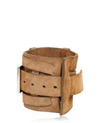 Balmain - Brown Buckle Crust Leather Bracelet for Men - Lyst