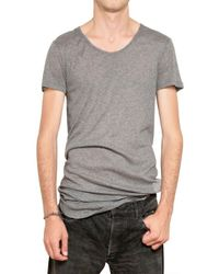Balmain | Gray Raw Cut Ribbed Cotton Jersey T-Shirt for Men | Lyst