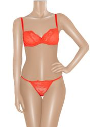 Deborah Marquit - Orange French Lace Tanga Thong - Lyst