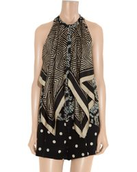 Elizabeth and James   Blue - Debbie Pussy-bow Printed Silk Top - Off-white   Lyst