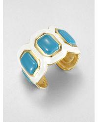 Kenneth Jay Lane | Blue Enamel Stone Cuff Bracelet | Lyst