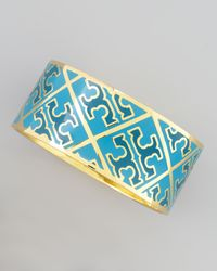 Tory Burch - Enamel Tpattern Bangle Blue - Lyst