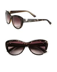 Valentino - Brown Lace Cat's Eye Sunglasses - Lyst