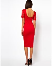 ASOS Collection - Red Asos Bodycon Midi Dress with Long Sleeve - Lyst