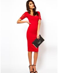ASOS Collection | Red Asos Bodycon Midi Dress with Long Sleeve | Lyst