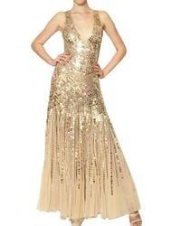 Blumarine | Metallic Sequins On Techno Mesh Long Dress | Lyst