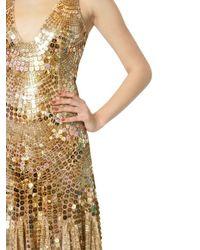 Blumarine   Gold Sequins On Techno Mesh Long Dress   Lyst