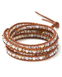 Chan Luu - Brown October Five Wrap Swarovski Crystal and African Opal Leather Bracelet - Lyst