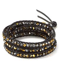 Chan Luu | Black Five Wrap Crystal Dorodo Leather Bracelet | Lyst