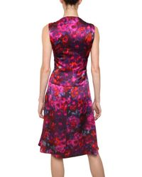 Erdem | Pink Printed Silk Satin Dress | Lyst