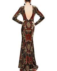 Etro | Multicolor Printed Viscose Silk Velvet Long Dress | Lyst