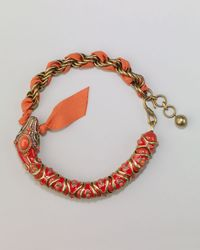 Lanvin | Orange Enamel Snake Choker Necklace | Lyst