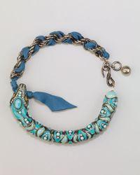 Lanvin - Blue Enamel Snake Choker Necklace Turquoise - Lyst