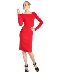 Michael Kors | Red Double Faced Stretch Wool Crepe Dress | Lyst