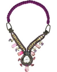 Oscar de la Renta - Purple Stone Embellished Rhodium Plated Necklace - Lyst