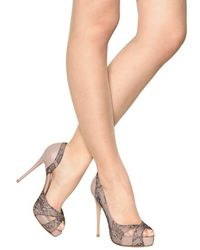 Valentino | Beige 120mm Nappa Lace Crystals Open Toe Pumps | Lyst