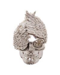 Alexander McQueen - Metallic Silver Wings Skull Cocktail Ring - Lyst
