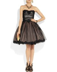 Dolce & Gabbana | Black Strapless Lace and Tulle Dress | Lyst