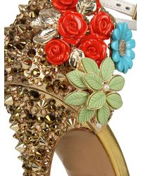 DSquared² | Gold 110mm Lalique Studs and Flower Pumps | Lyst